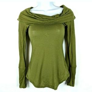 Free People Cosmo Cowl Top Olive Green Shirt Top